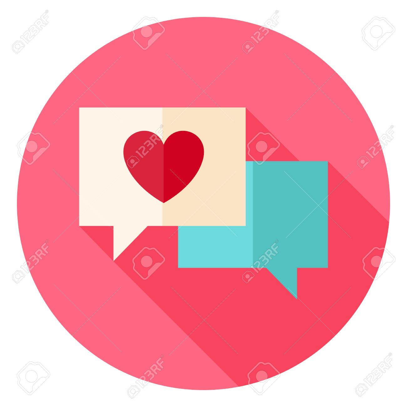 Messages Damour Avec Coeur Cercle Icône Flat Vector Design Illustration Avec Long Shadow Saint Valentin Heureux Et Amour Symbole