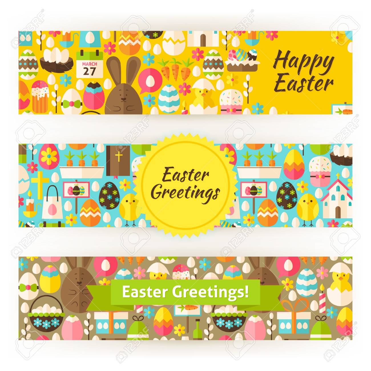 Easter Greetings Template Banners Set In Modern Style Flat Design