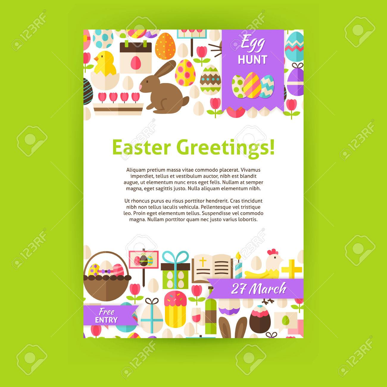 Happy Easter Invitation Template Poster. Flat Design Vector Illustration of Brand Identity for Spring Religious