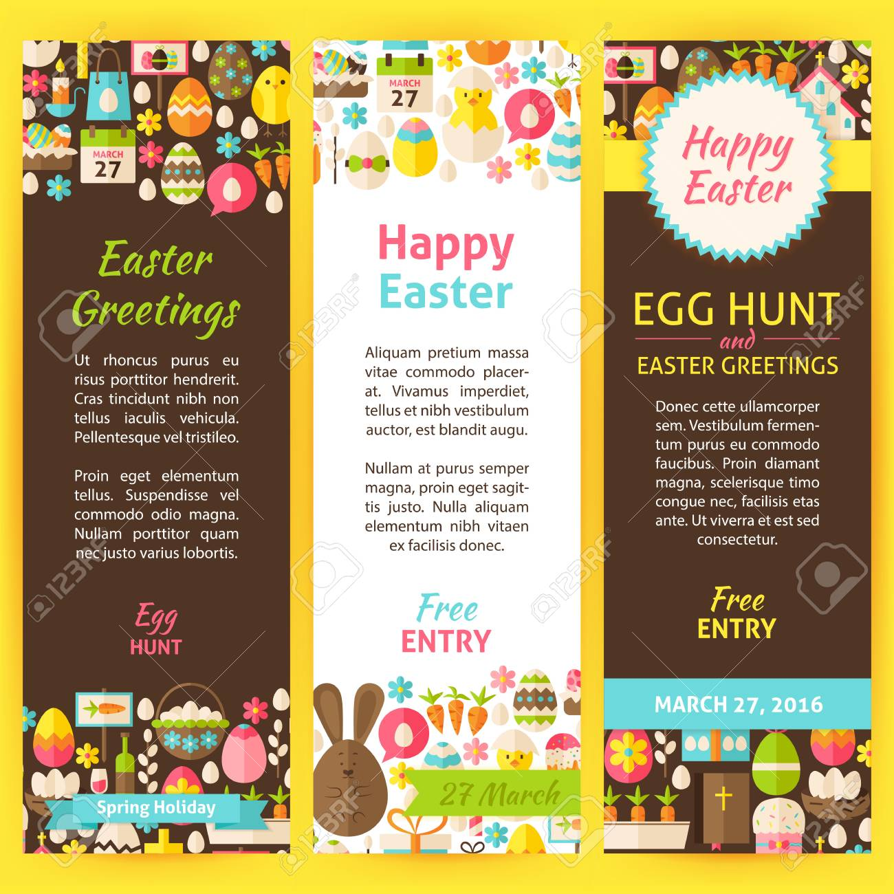 Happy easter party invitation flyer set flat design vector happy easter party invitation flyer set flat design vector illustration of brand identity for spring stopboris Choice Image