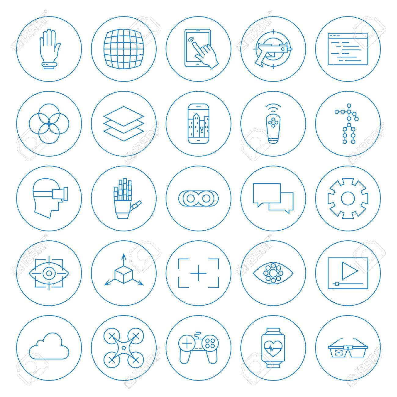 Line Circle Virtual Reality Icons Set. Vector Set of Modern Innovation Technology Thin Line Icons of Augmented Reality Circle Shaped Isolated over White Background. - 53238891