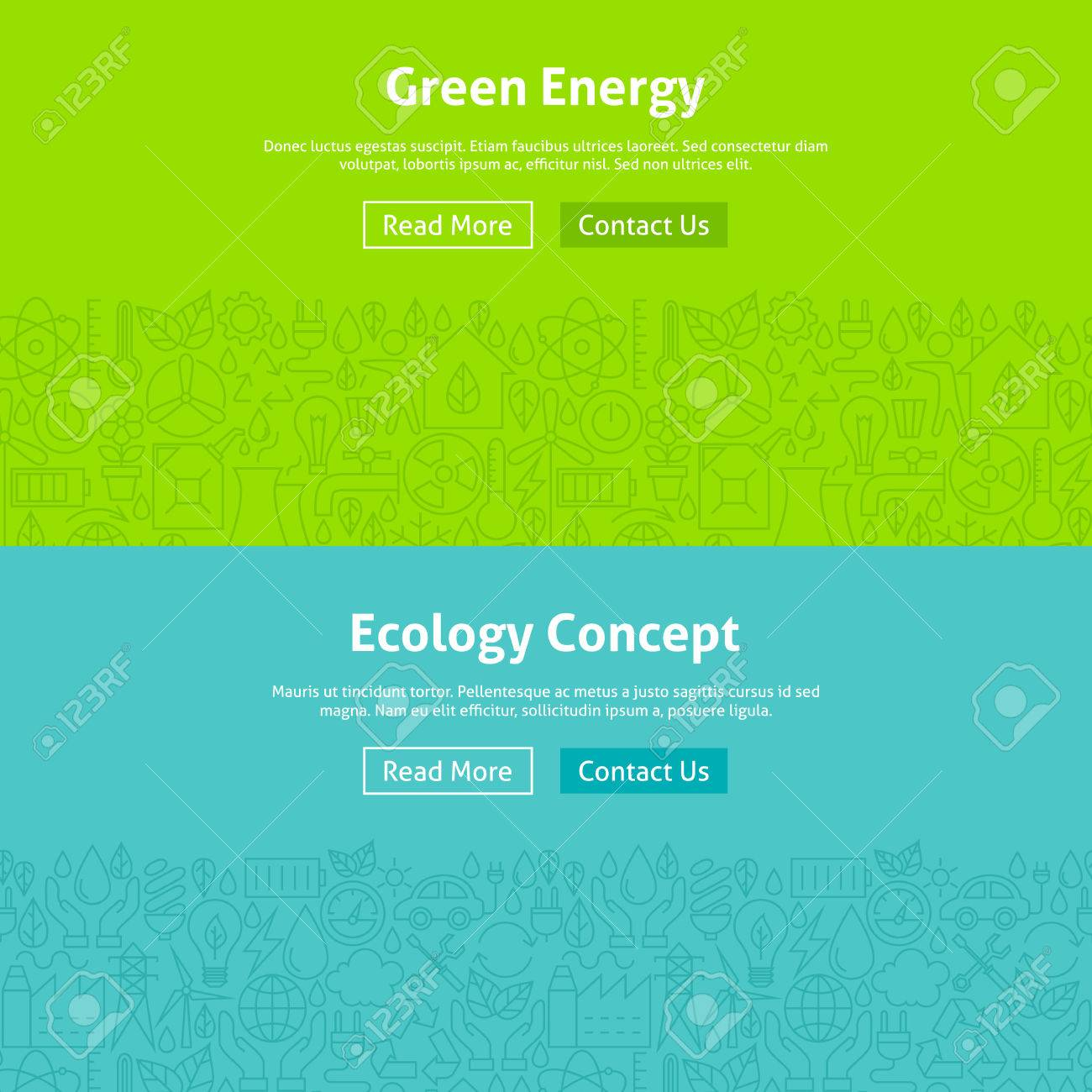 Ecology Green Energy Line Art Web Banners Set. Illustration for Website banner and landing page. Eco Power and Environment Modern Design. - 53438391