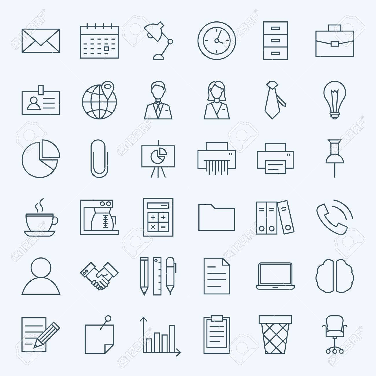 Line Business Office Icons Set. Set of Modern Thin Outline Working Place and Job Items. - 54184008