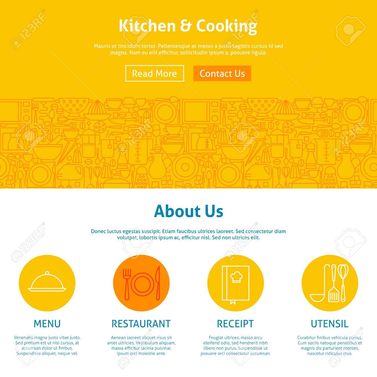 Cocina Y Cocina Línea Arte Plantilla De Diseño Web. Ilustración ...
