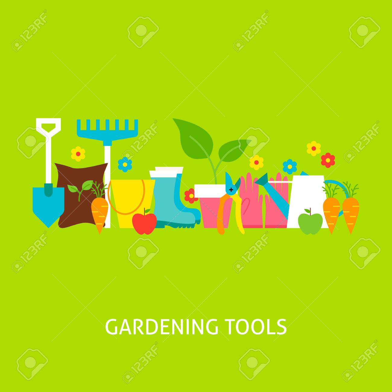 Poster design tools - Gardening Tools Concept Flat Poster Design Vector Illustration Collection Of Nature Garden Colorful Objects
