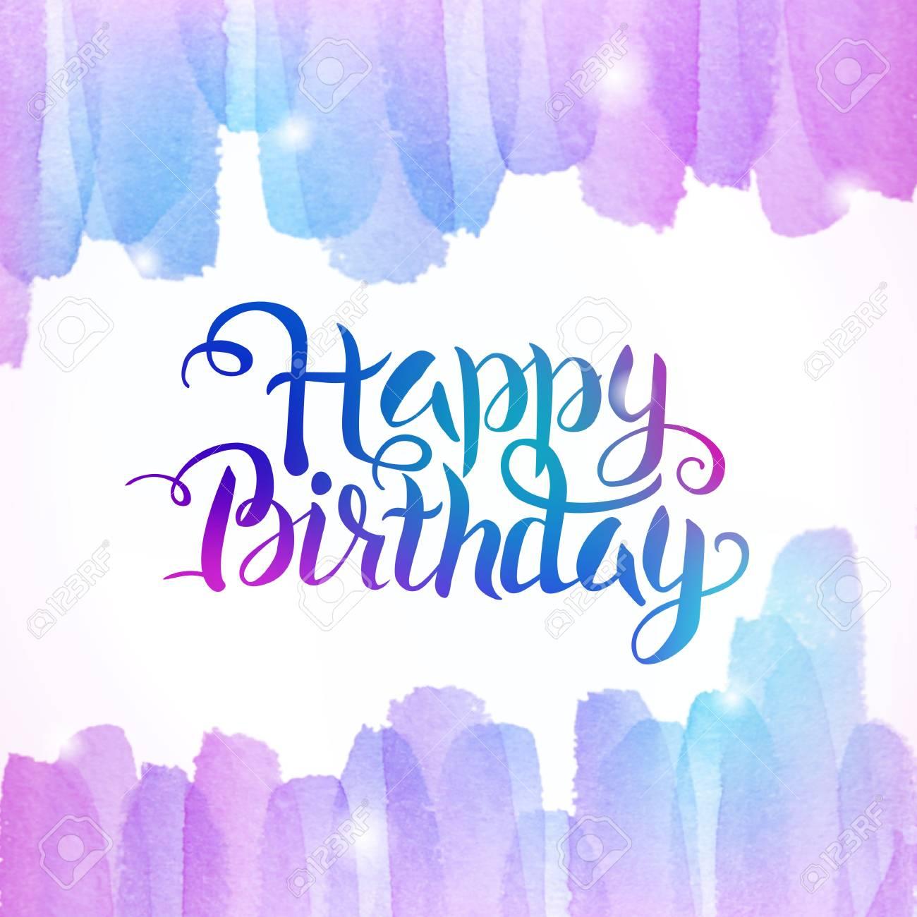 Aquarell Bunte Alles Gute Zum Geburtstag Beschriftung Hintergrund