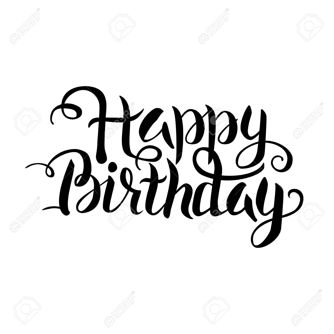 Black Happy Birthday Lettering Over White Vector Illustration Royalty Free Cliparts Vectors And Stock Illustration Image 57318332