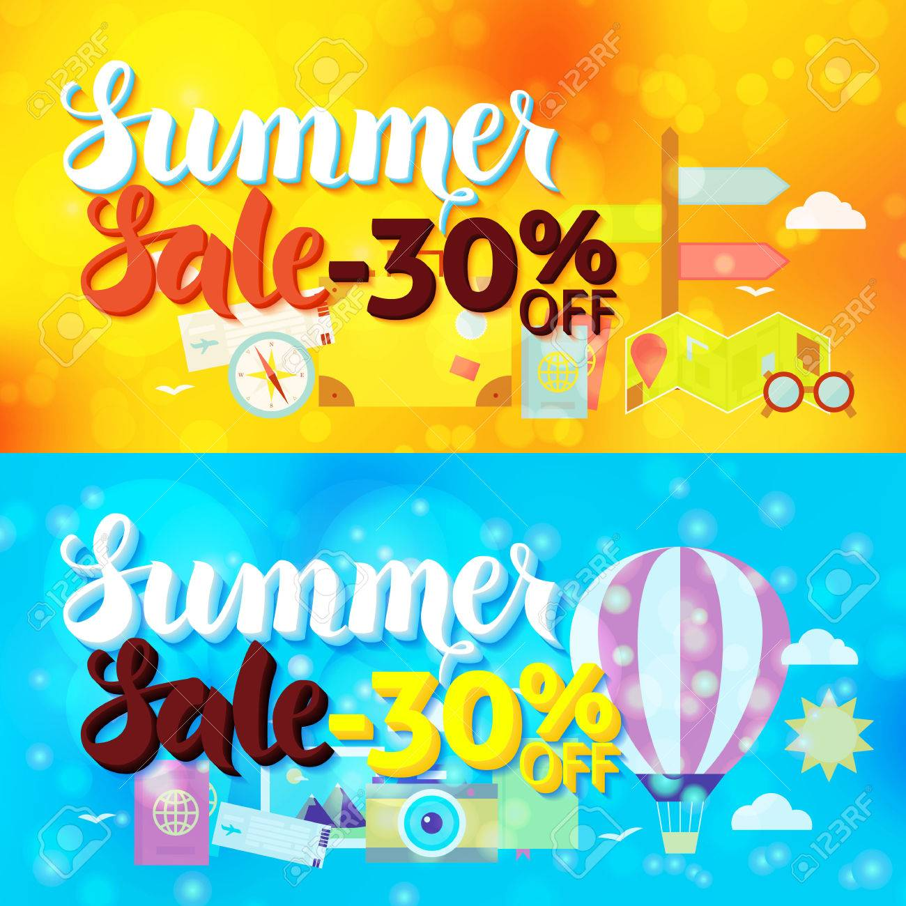 Travel Promotion Banners Antique Ribbon Banners