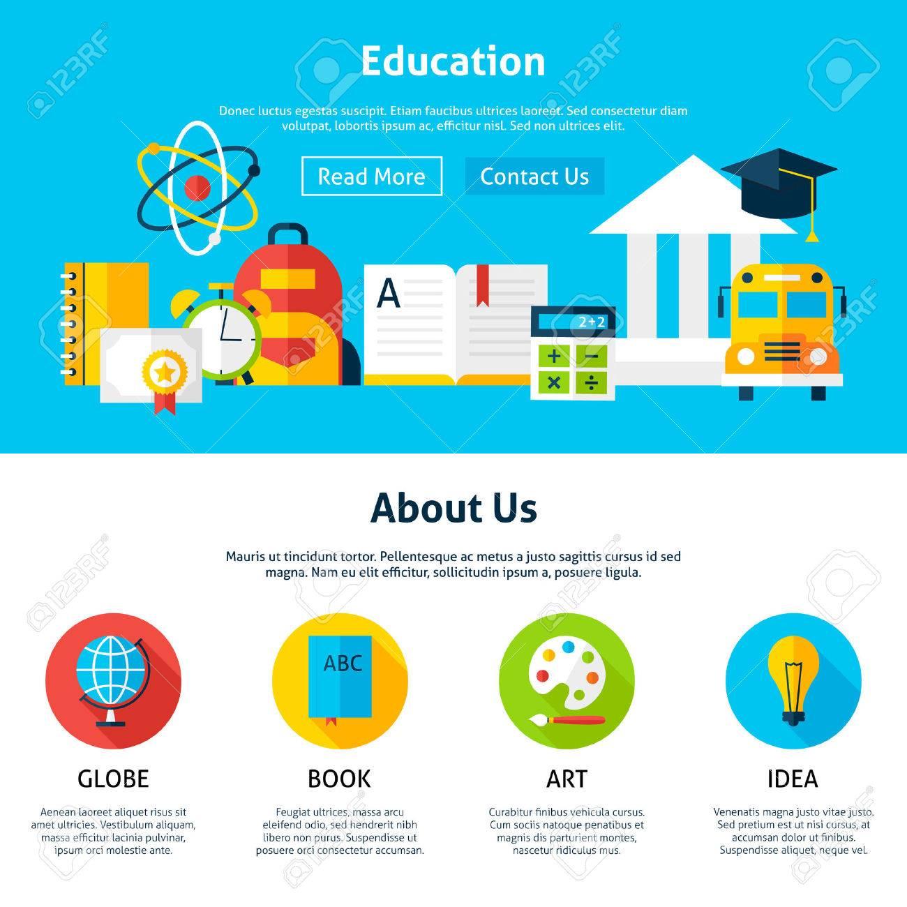 Educación Plana Plantilla Web. Ilustración Vectorial Para La Bandera ...