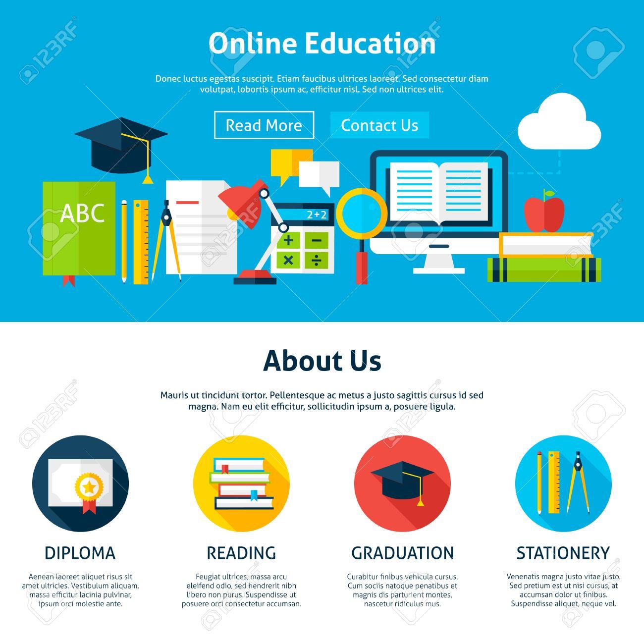 La Educación En Línea Plana Plantilla Web. Ilustración Vectorial ...