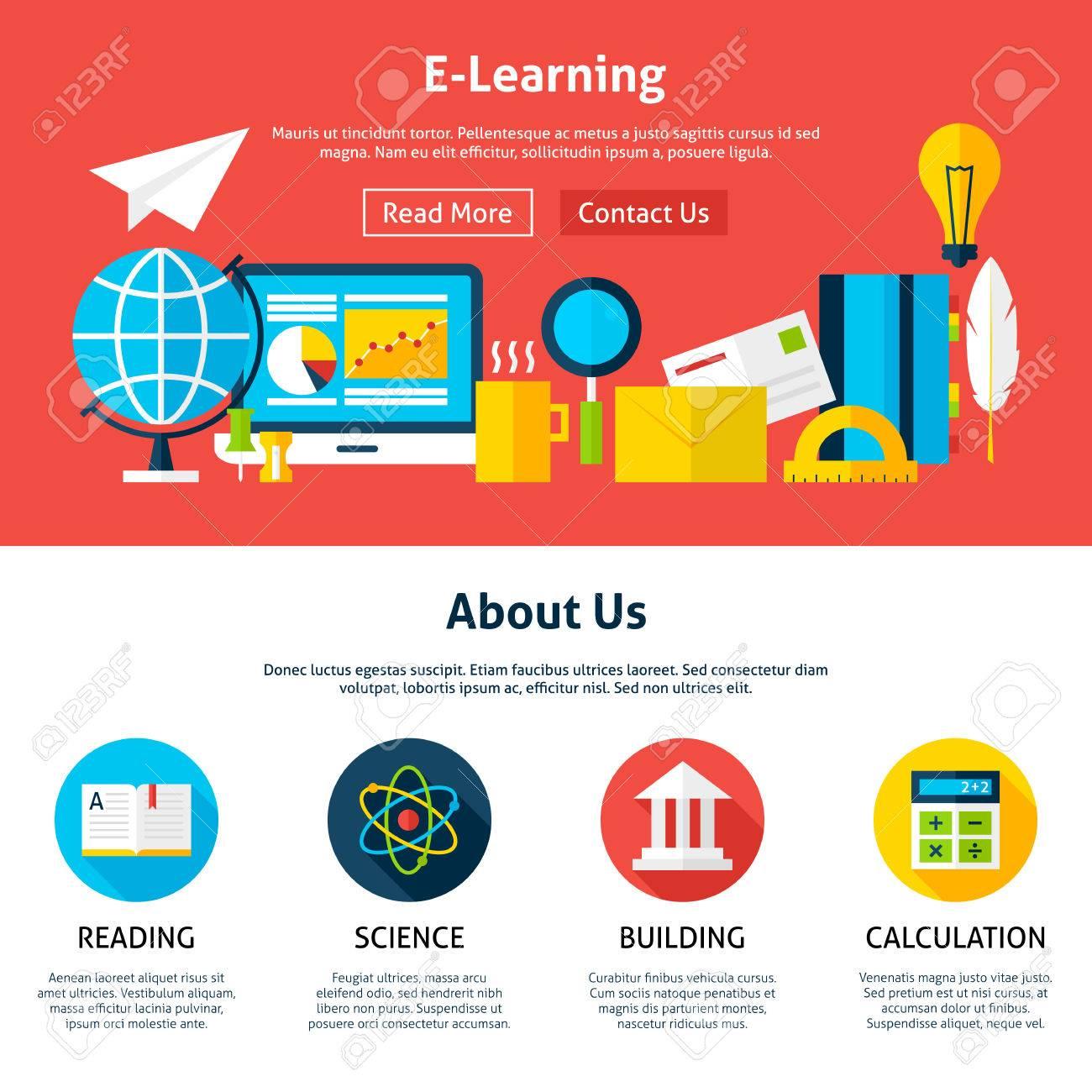 Aprendizaje Electrónico Plana Plantilla Web. Ilustración Vectorial ...