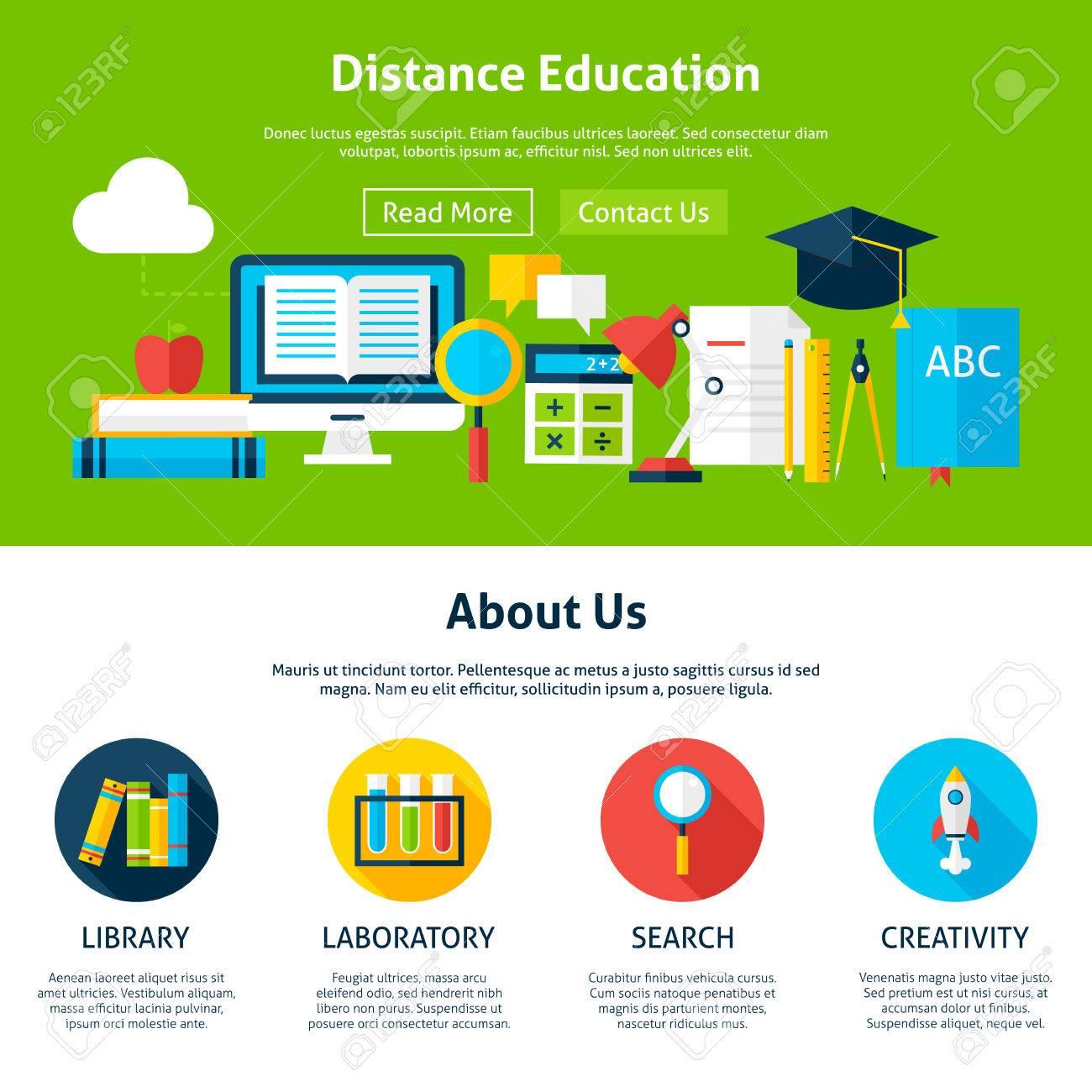 Educación A Distancia Plana Plantilla Web. Ilustración Vectorial ...