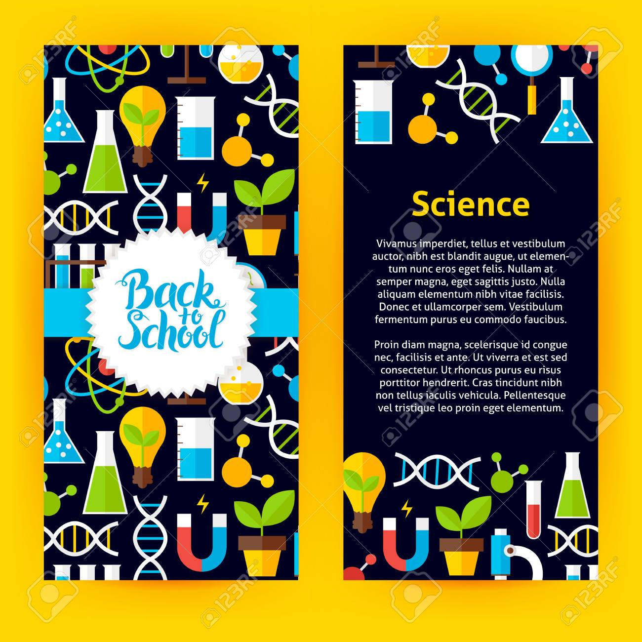 Flyer Template Back To School Science Flat Style Vector