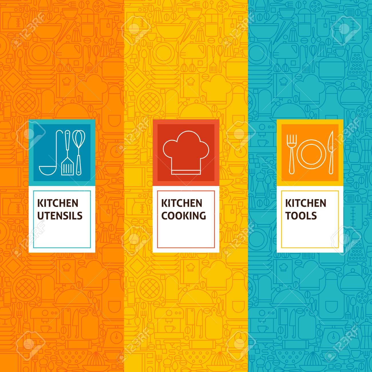 Los Patrones De Línea De Cocina La Cocina Del Conjunto. Ilustración ...