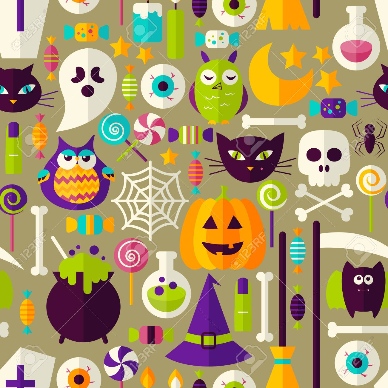 halloween seamless background. vector illustration of scary holiday