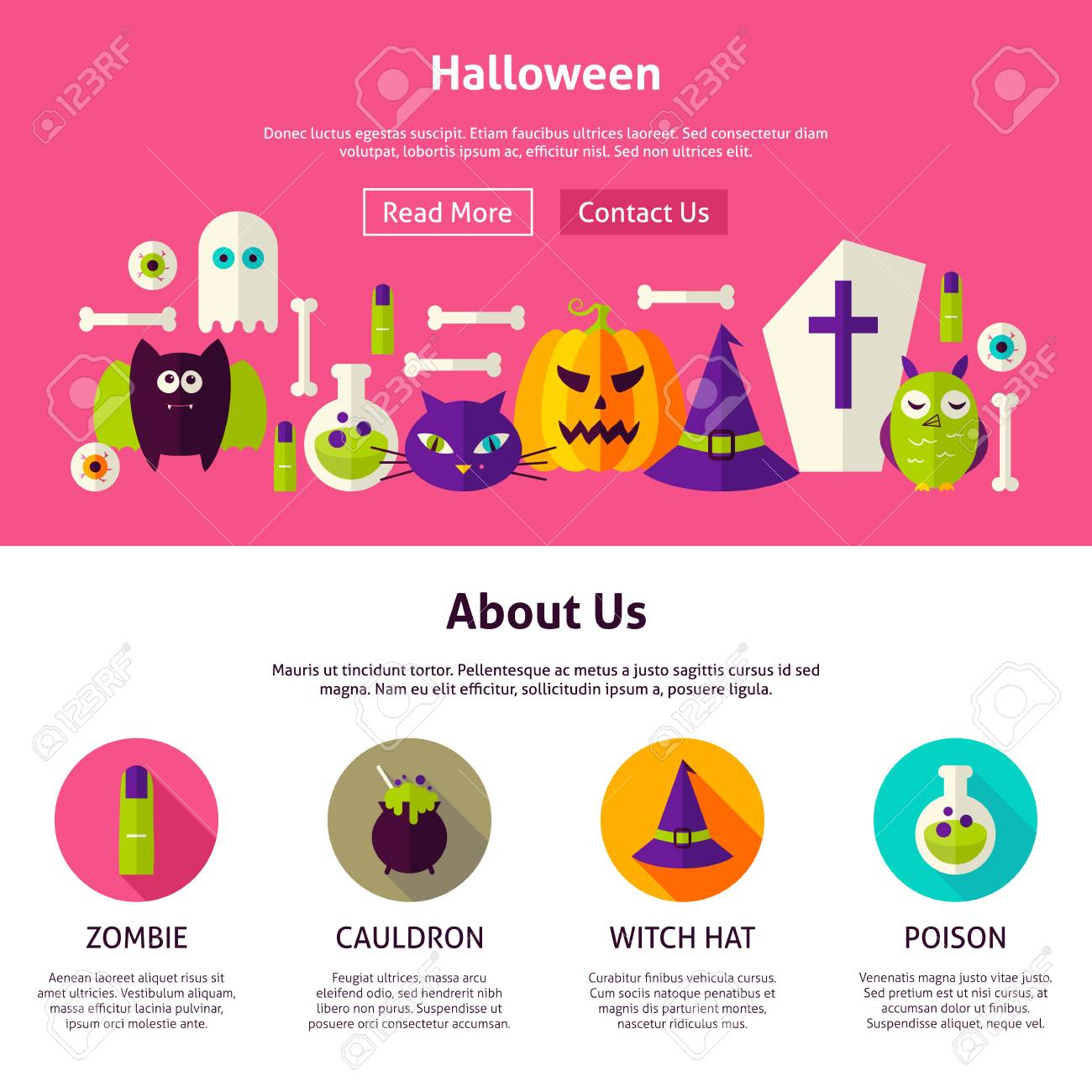 halloween web design template flat style vector illustration