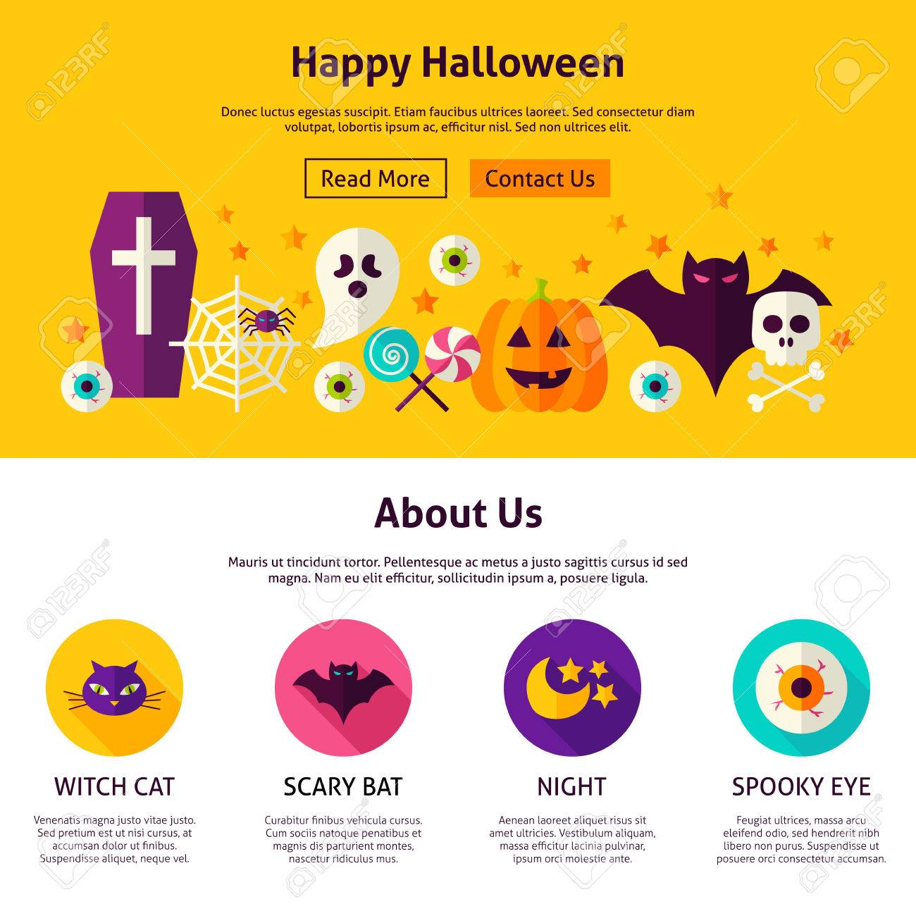 happy halloween web design template flat style vector illustration