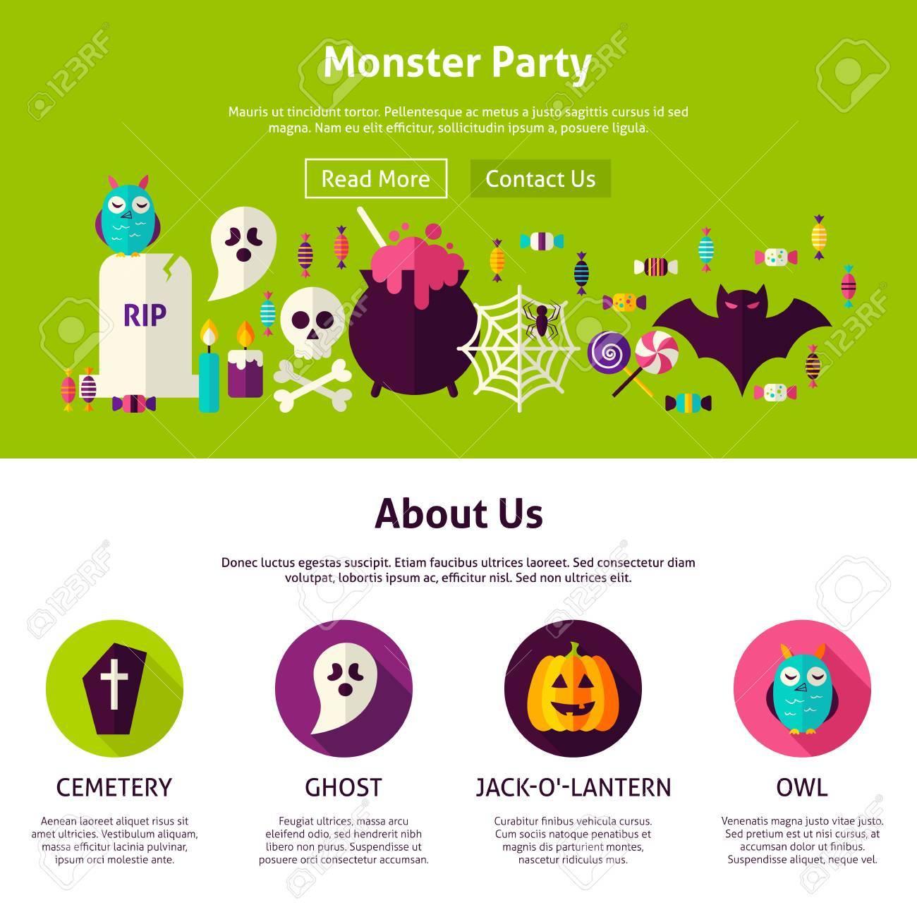 Monster Party Webdesign Vorlage. Flache Art-Vektor-Illustration Für ...