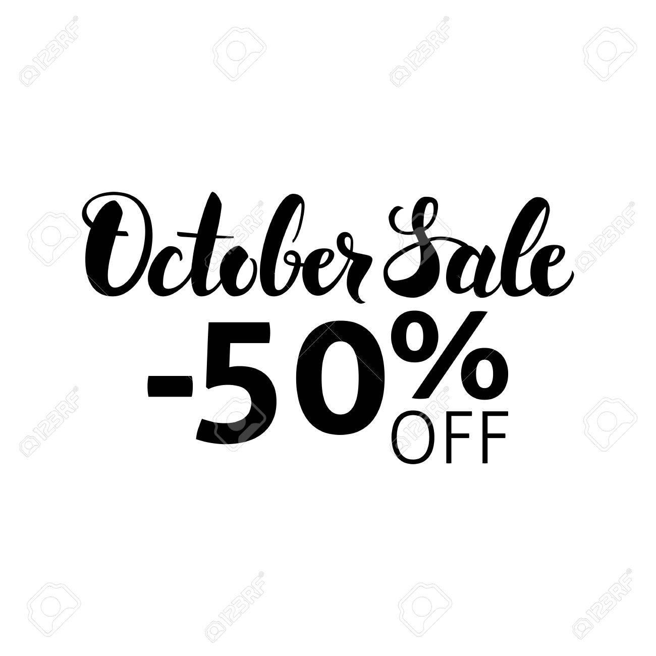 10 月販売のレタリング 白い背景に分離された書道のベクター イラストです 手には インク ブラシ テキストが描画されます 秋の割引 50 のイラスト素材 ベクタ Image
