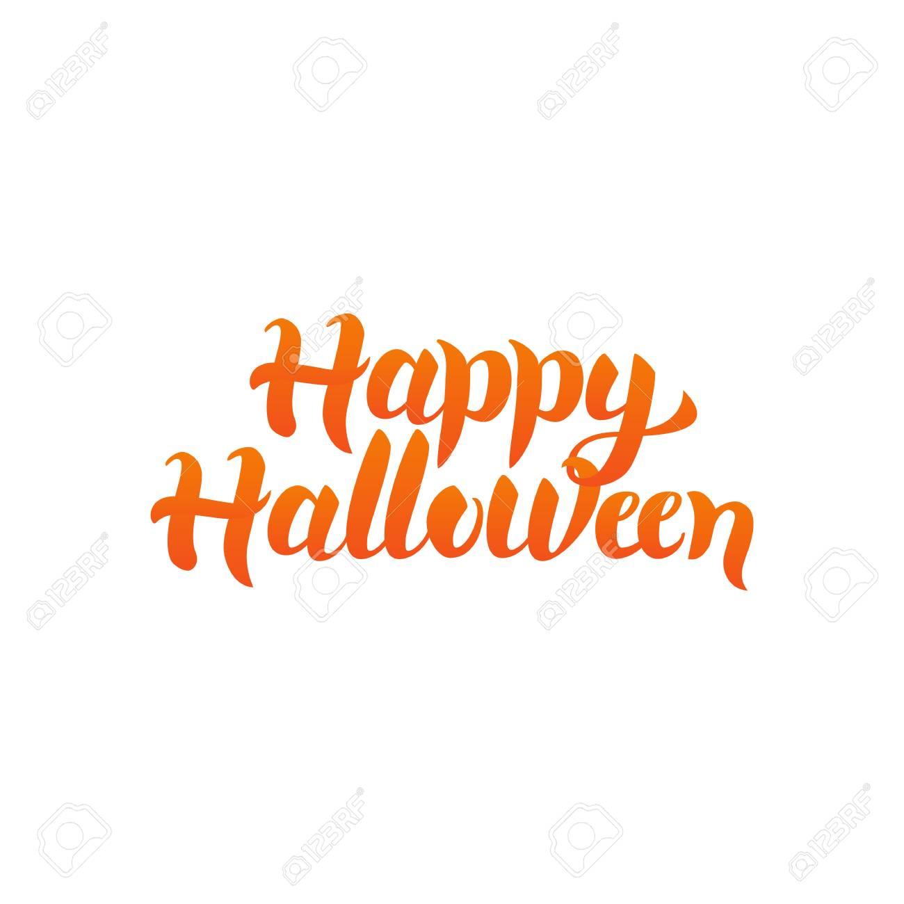 Halloween Quote.Happy Halloween Quote Vector Illustration Of Ink Brush Calligraphy