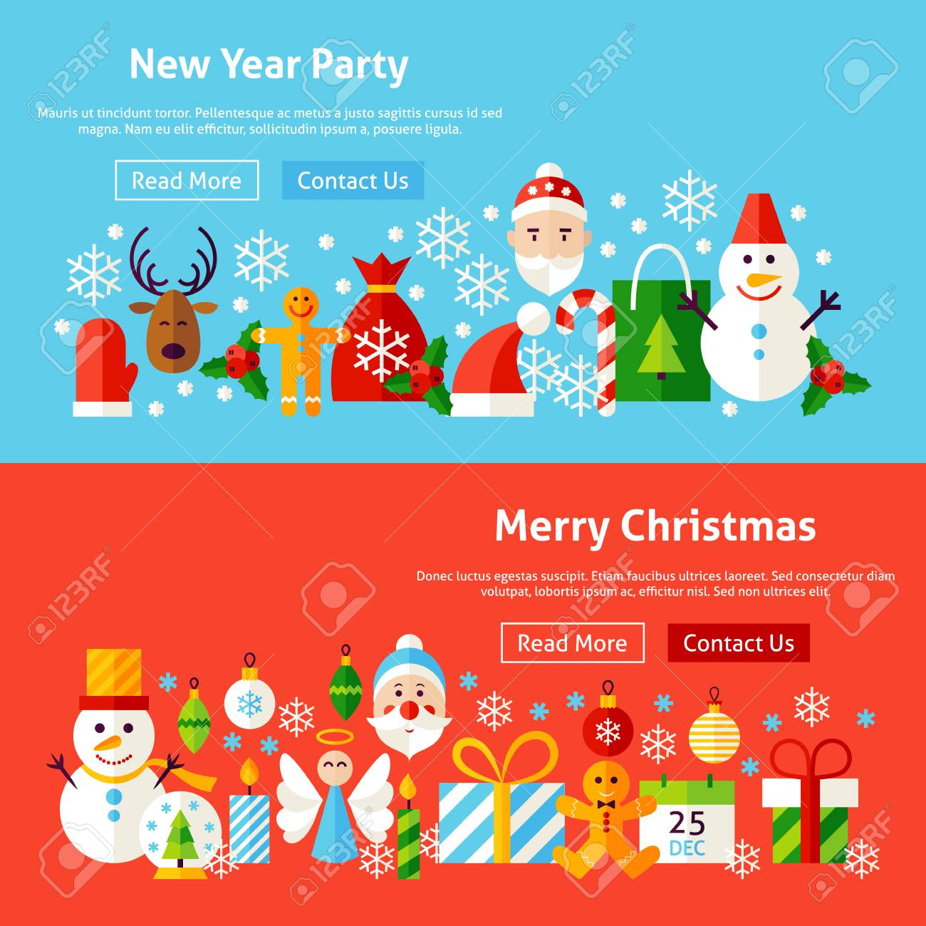 New Year Party Website Banners. Vector Illustration For Web Header ...