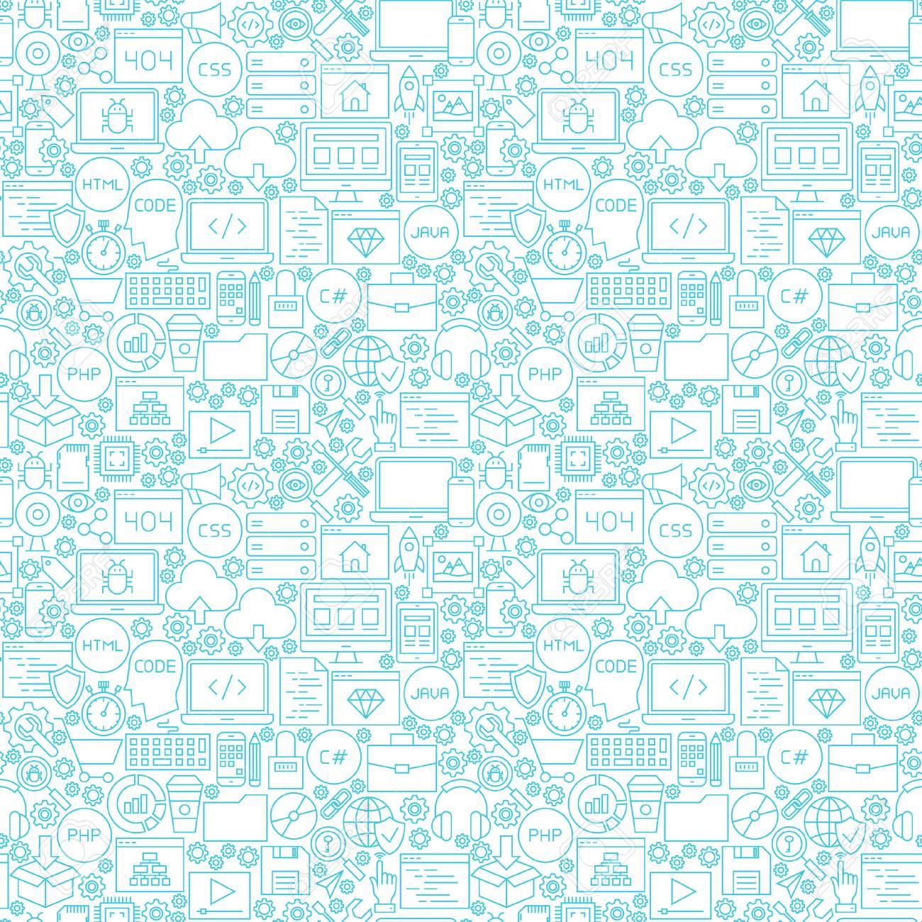 Line Coding White Seamless Pattern  Illustration of Outline Tile