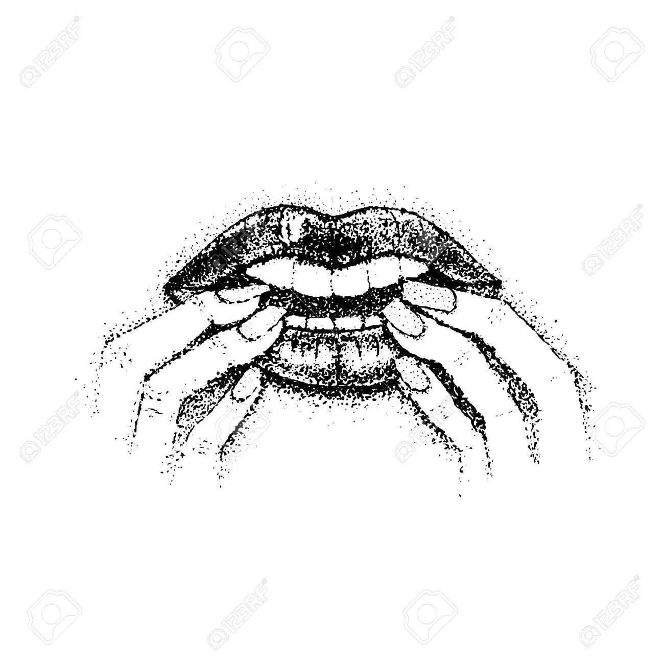 Dotwork Bite Nails Royalty Free Cliparts Vectors And Stock