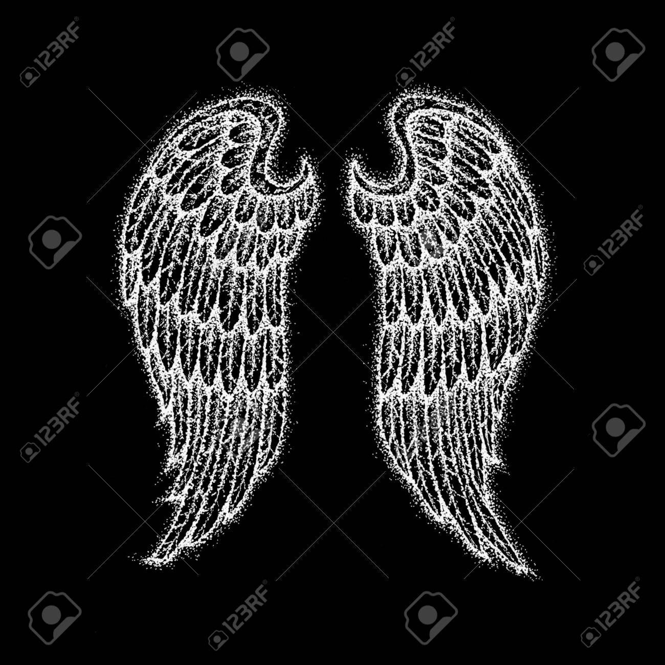 Angel Wings Over Black Raster Illustration Of Boho Style T Shirt