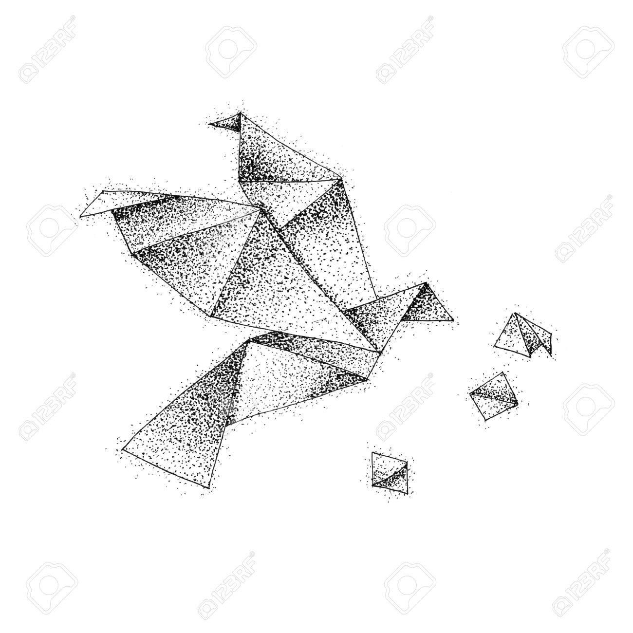Origami Bird Dotwork Raster Illustration Of Paper Flight Tattoo