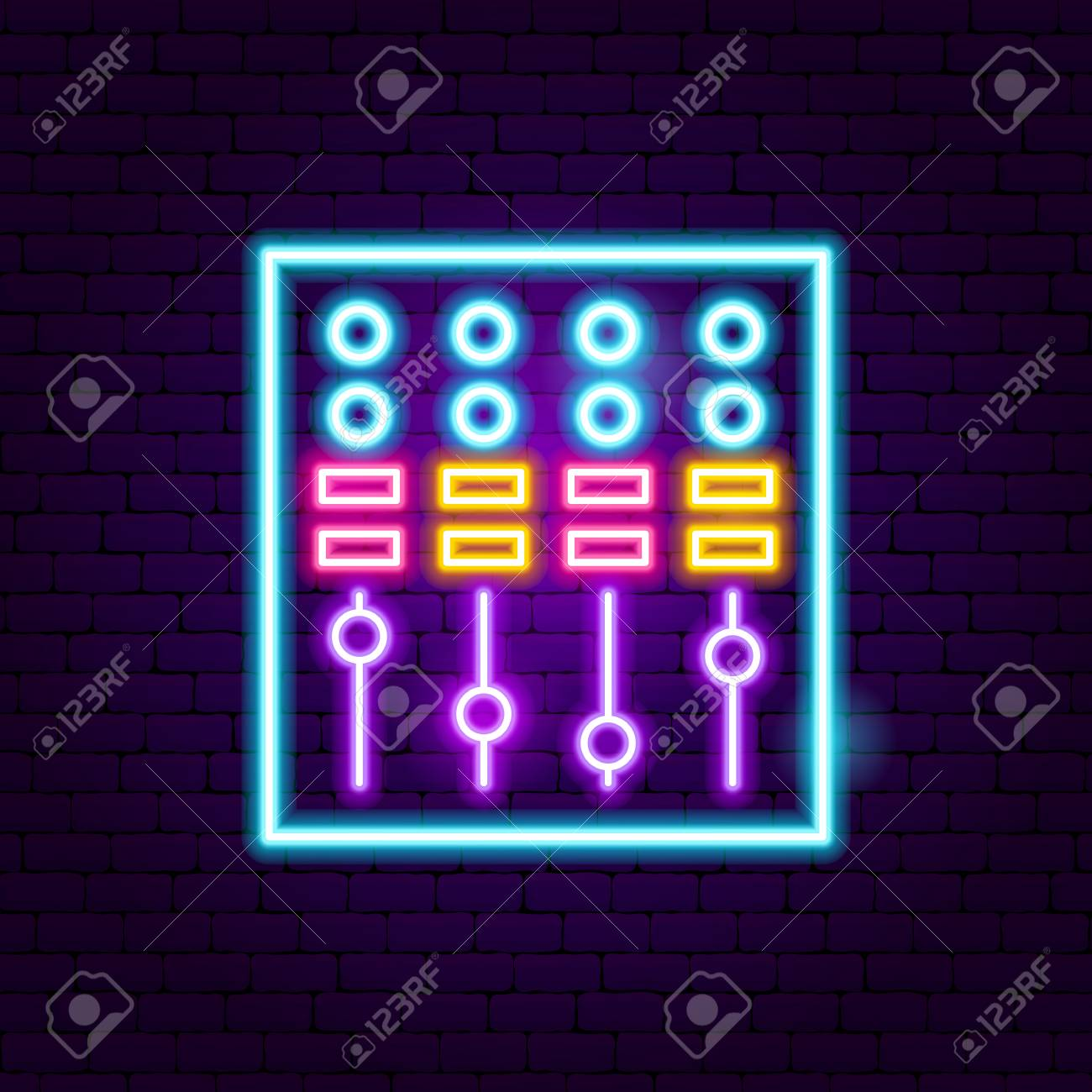 DJ Mixer Neon Sign  Vector Illustration of Music Promotion