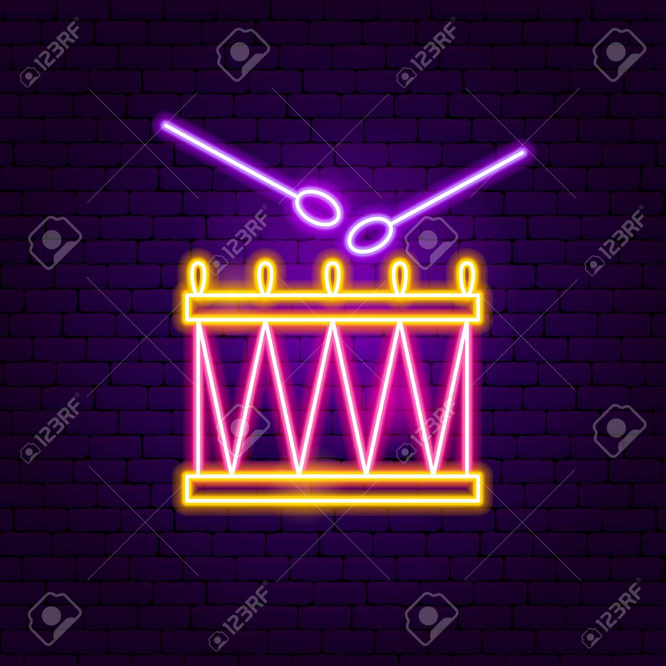 Drum Neon Sign  Vector Illustration of Music Promotion