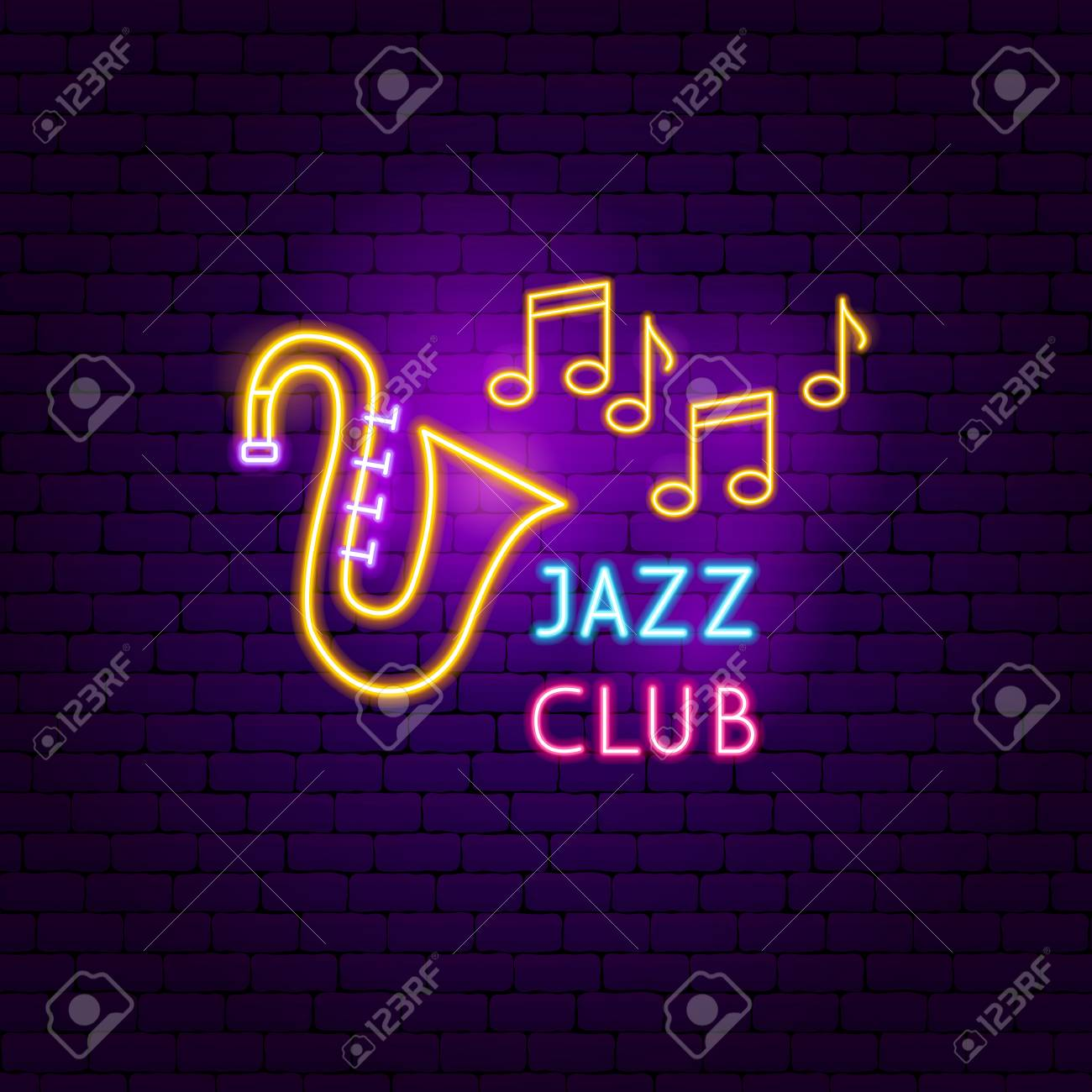 Jazz Club Neon Sign  Vector Illustration of Music Promotion