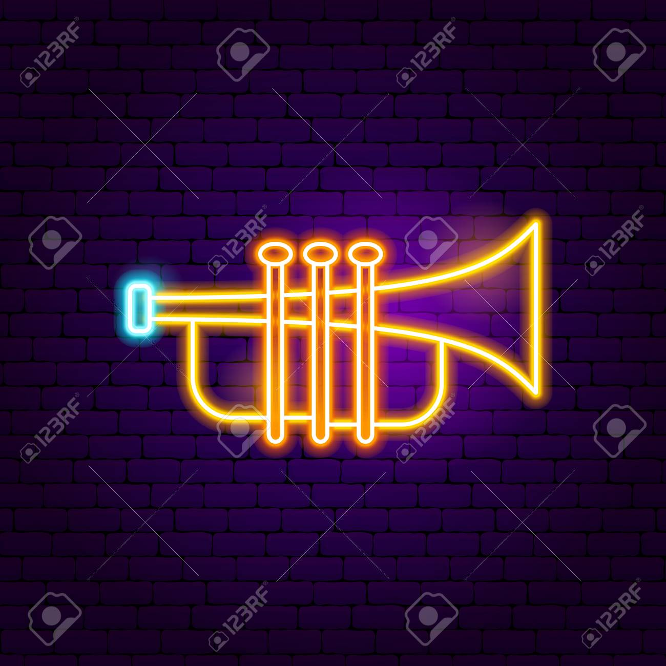 Trumpet Neon Sign  Vector Illustration of Music Promotion