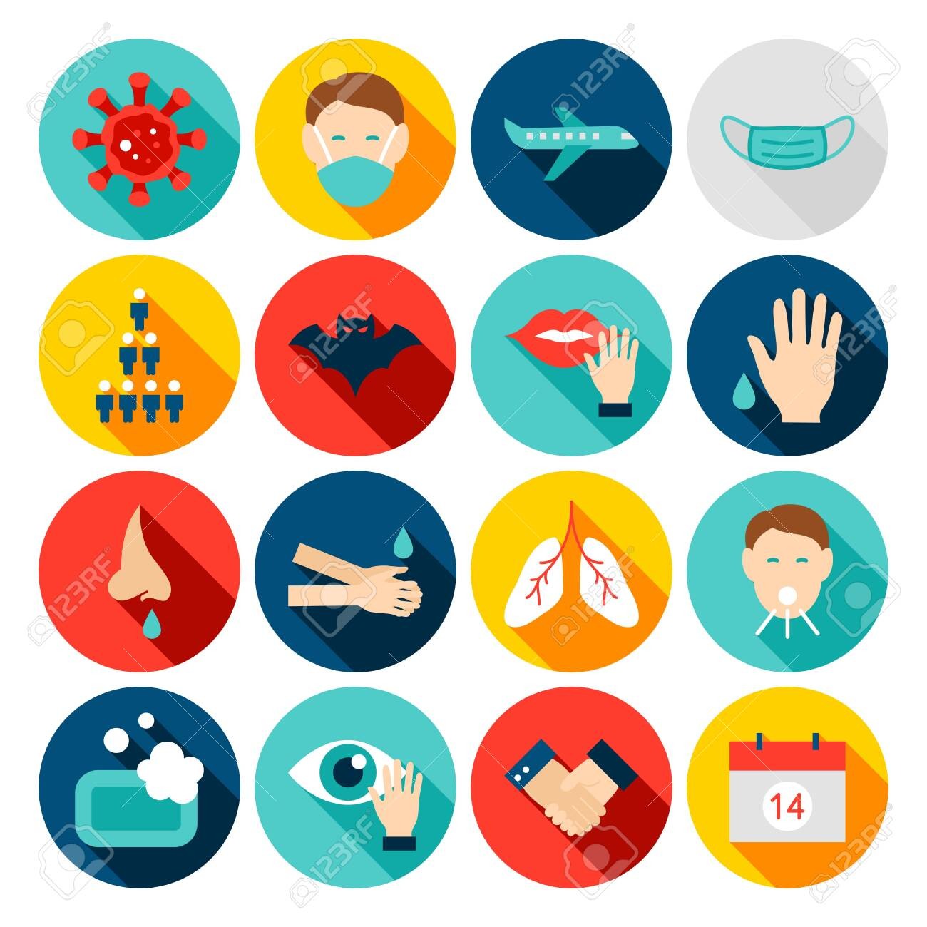Coronavirus Prevention Flat Icons - 142994567