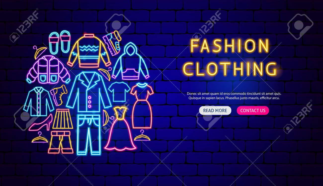 Fashion Clothing Neon Banner Design - 168963064