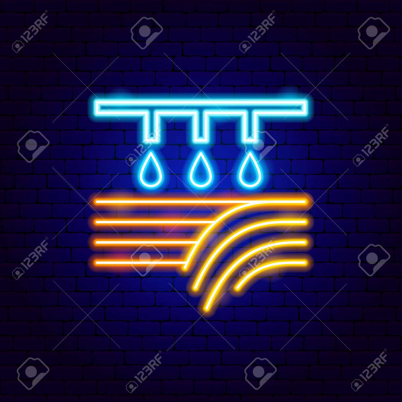 Field Watering Neon Label - 169264478