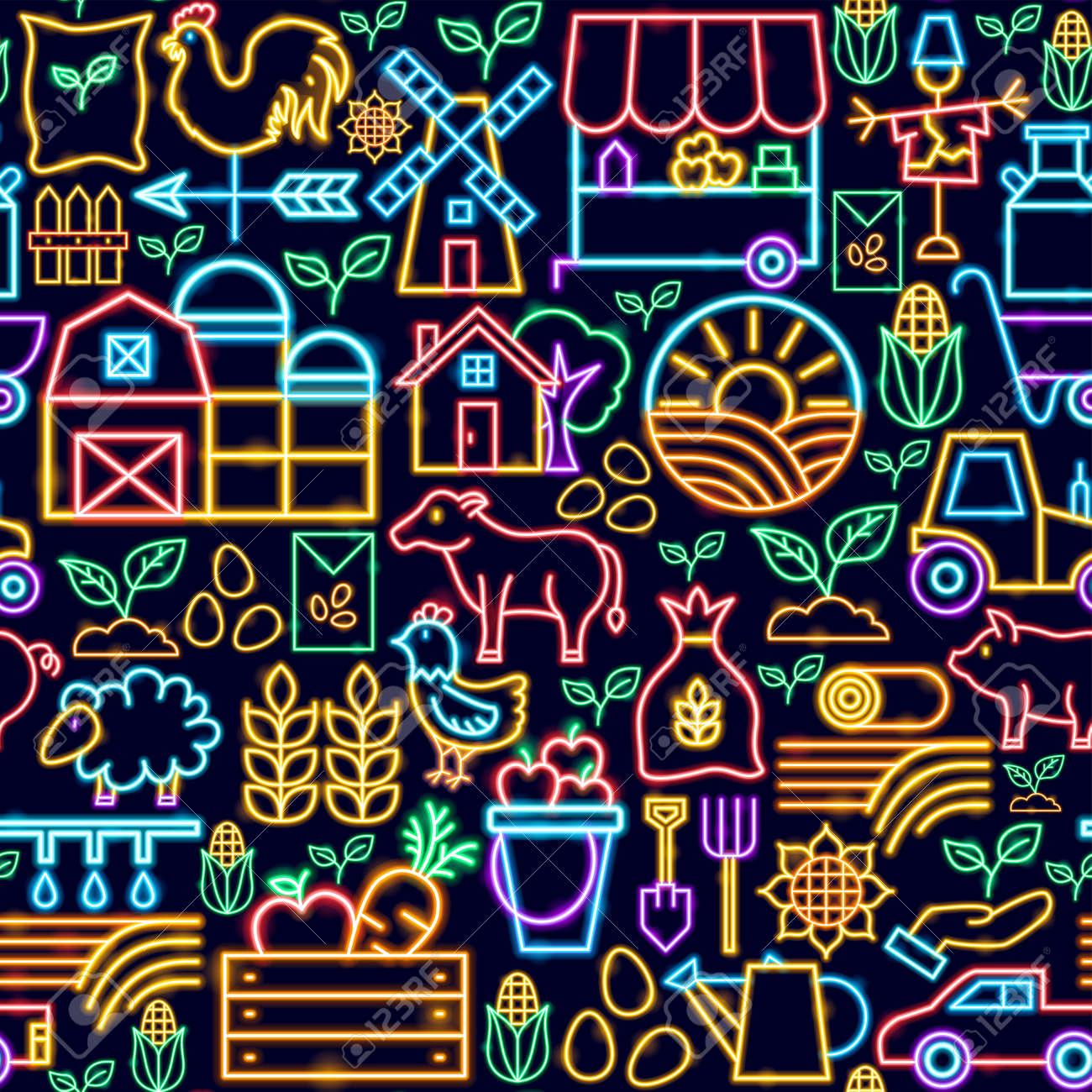 Farming Seamless Neon Pattern - 169264479