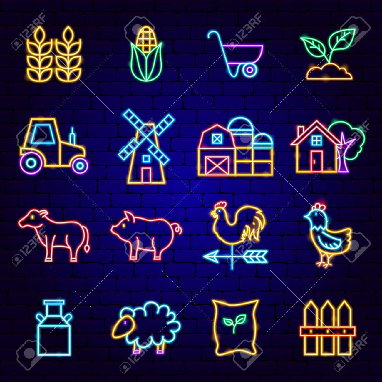 Farming Neon Icons - 169264489
