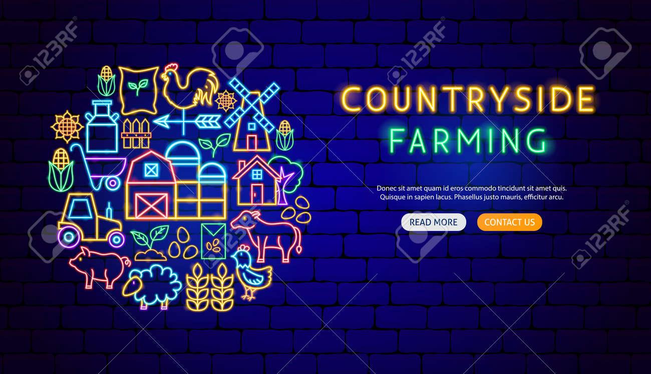Farming Neon Banner Design - 169264499