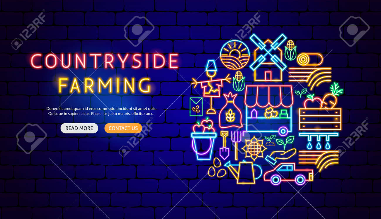 Countryside Neon Banner Design - 169264530
