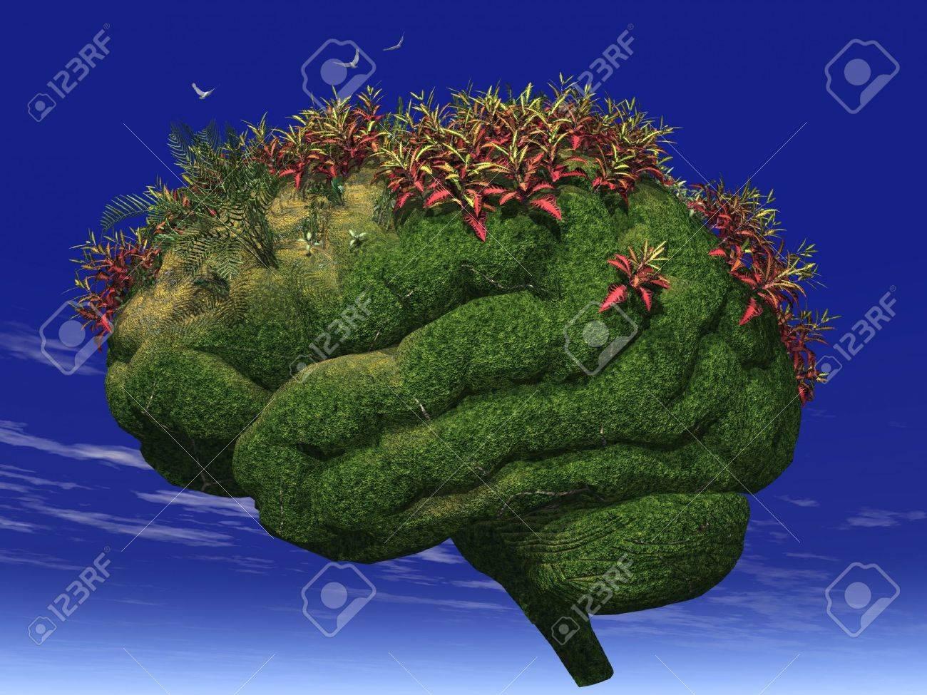 3d render of a brain-looking garden Stock Photo - 629444