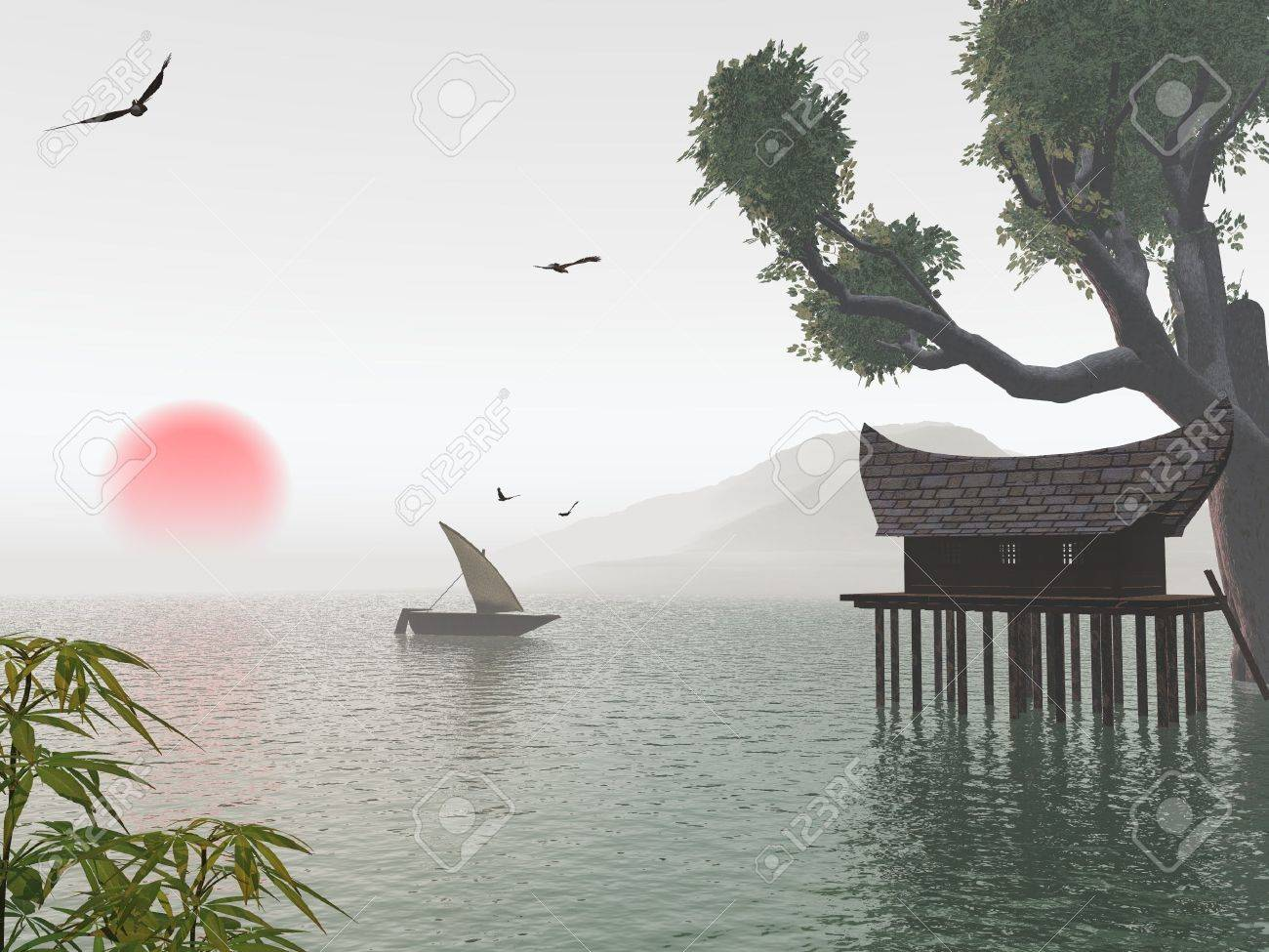 dreamy asian landscape stock photo picture and royalty free image