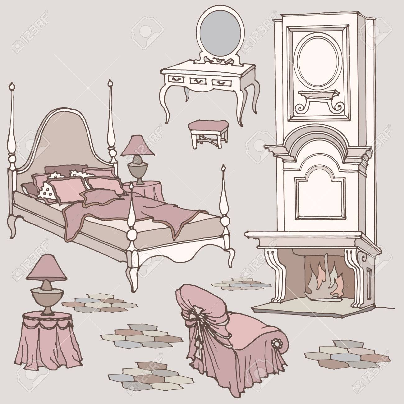 Sketch Of Furniture For Classic Old Bedroom With Fireplace ...