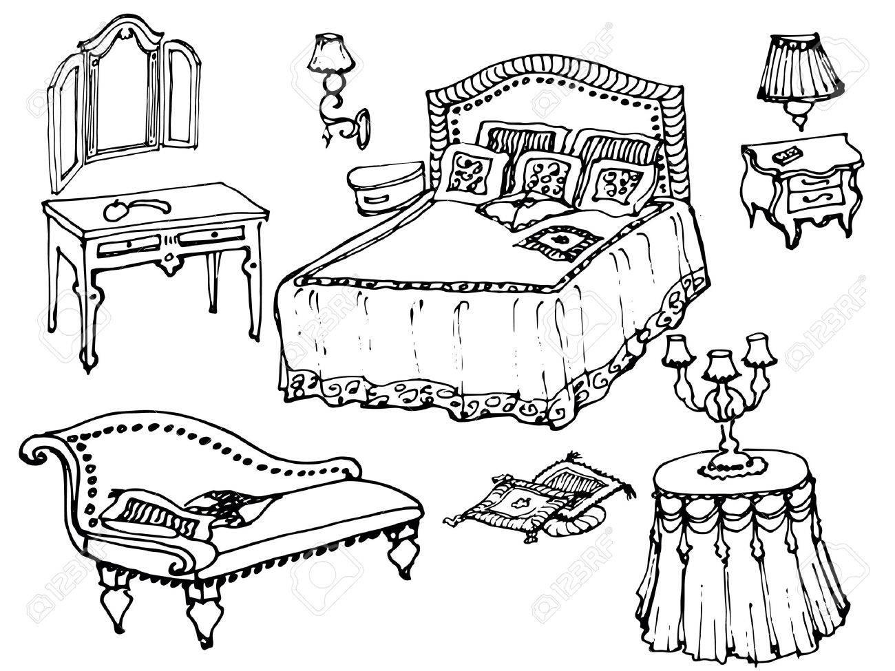Esbozo De Un Muebles De Dormitorio Clásico, Cama, Manta, Almohada ...