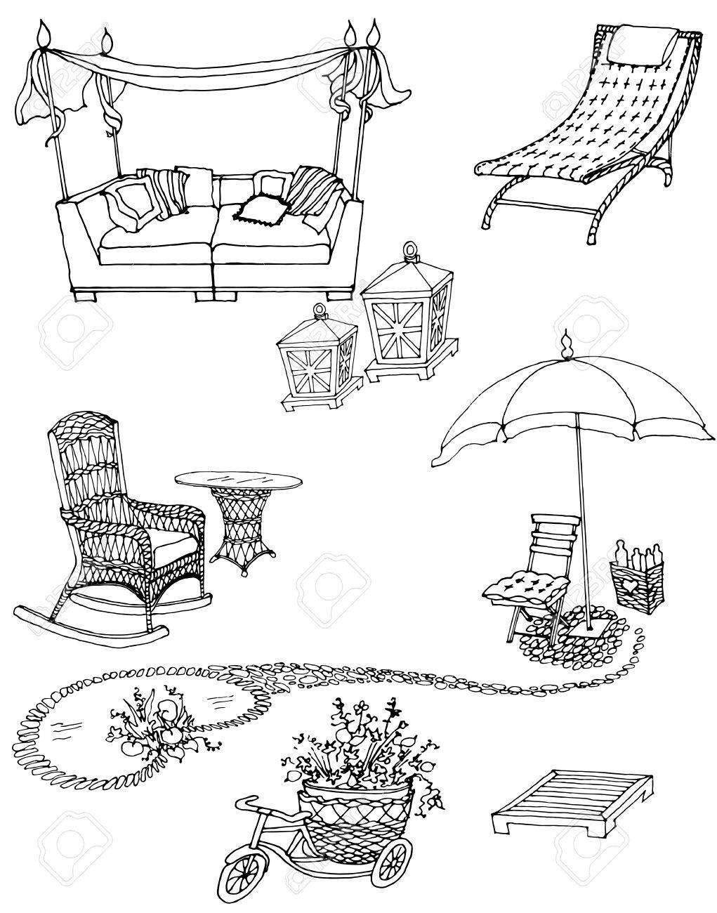 Croquis D Un Ensemble De Mobilier Et De Decoration Pour Le Jardin Noir Et Blanc