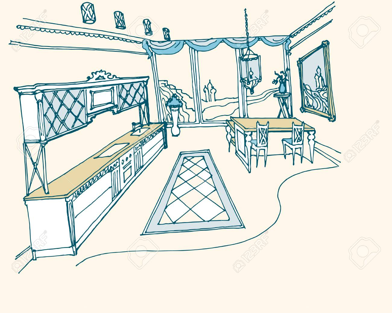 Sketch Of Kitchen Interior, Furinture In The Style Of Art Deco ...