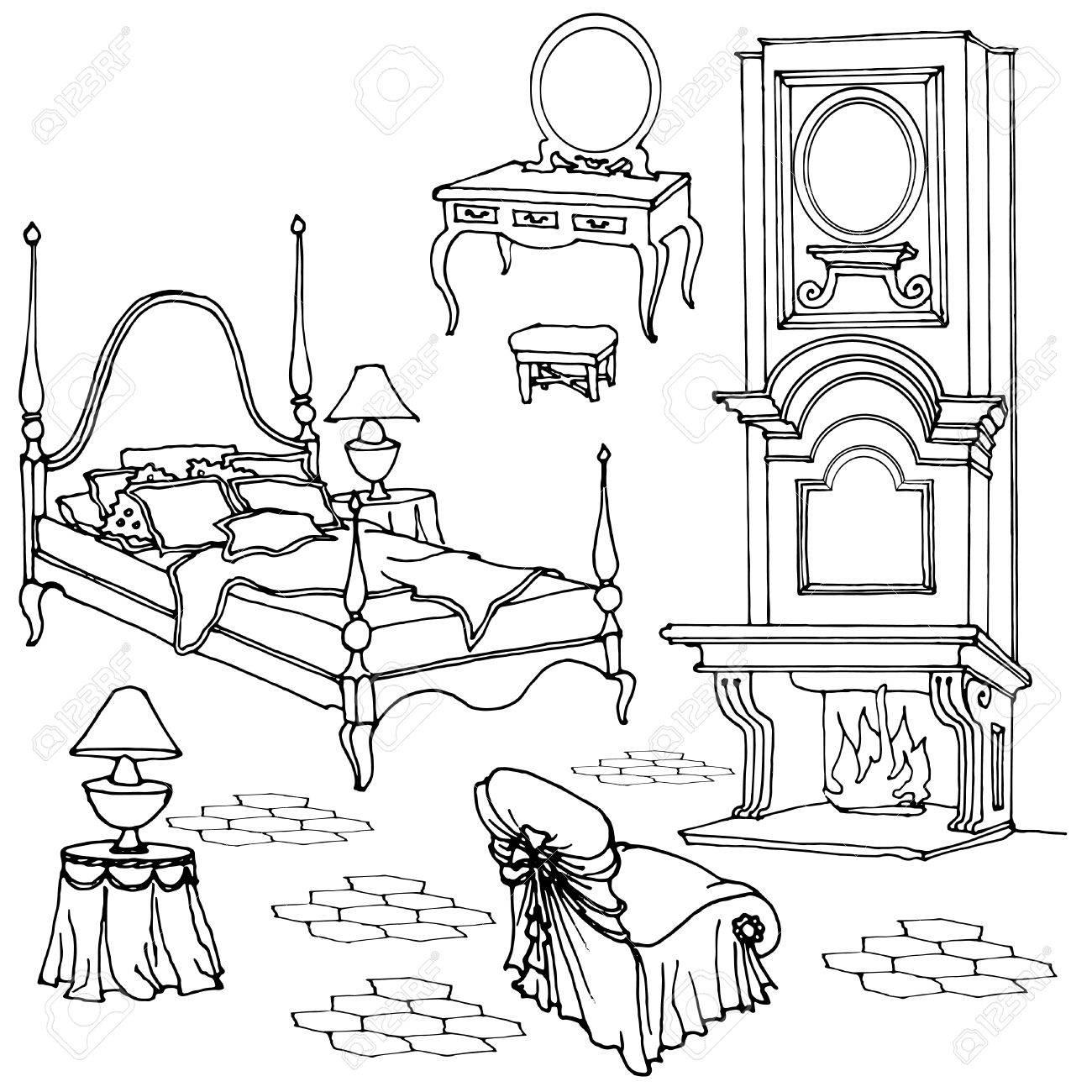 Bosquejo De Muebles Para El Dormitorio Viejo Clásico Con Chimenea ...