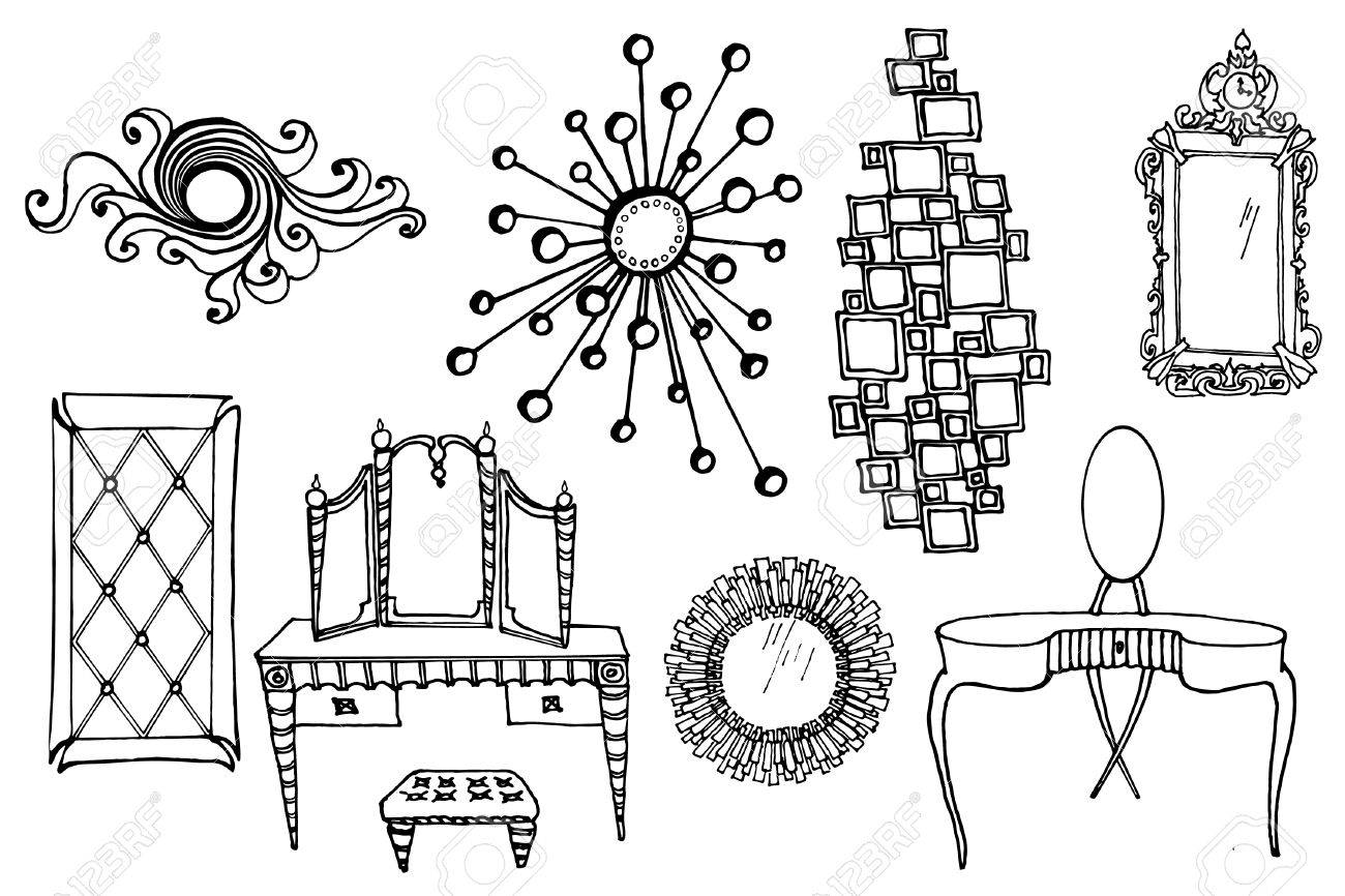Sketch Of A Set Of Mirrors And Dressing Tables In The Style Of Royalty Free Cliparts Vectors And Stock Illustration Image 67719767