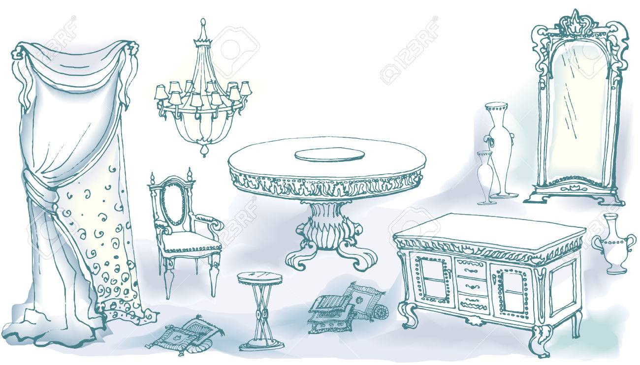 vector a sketch of the classical interior dining room set furniture table stool shower curtain chandelier chest of drawers a vase cushions