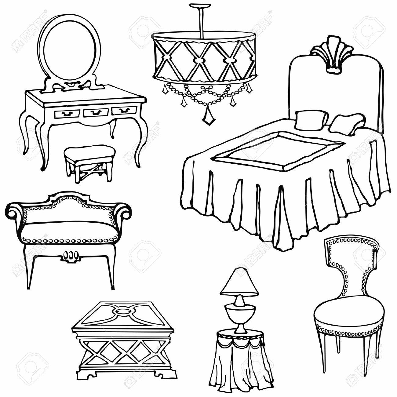 Muebles De Dormitorio Conjunto De Vector Dibujado A Mano, Clásico De ...